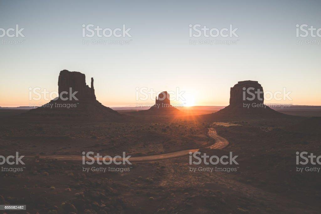 Monument Valley at sunrise, Arizona, USA stock photo