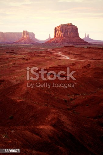 Sunset at John Fords Point in Monument Valley on Navajo land in Arizona, USA.