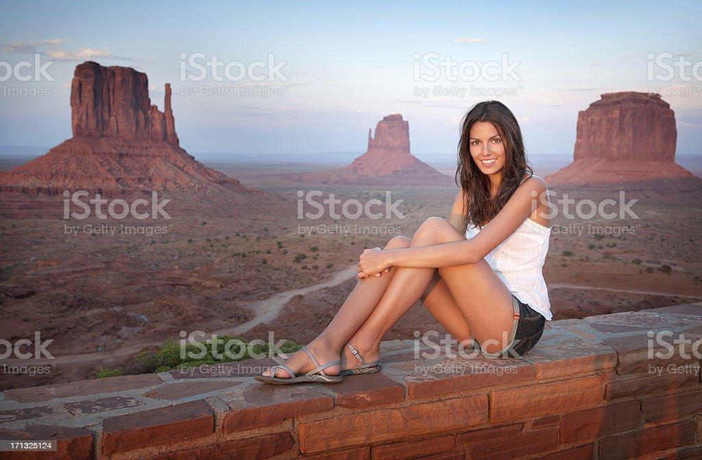 Monument Valley, Beautiful Tourist enjoying the View (XXXL) royalty-free stock photo