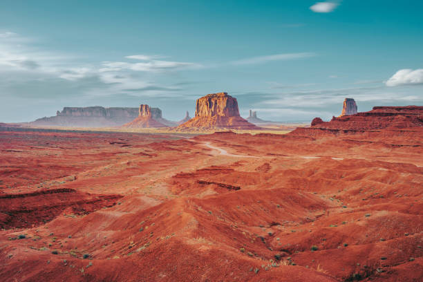 Monument Valley during a sunny day stock photo