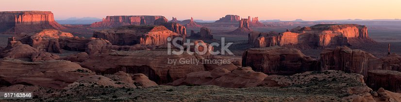 A panoramic image of Monument Valley, Utah