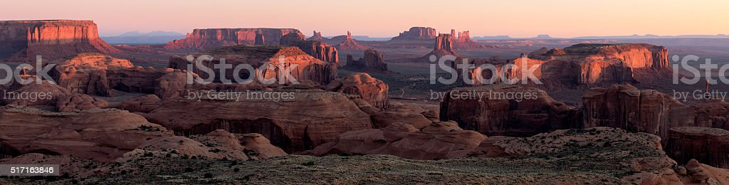 Monument Valley Hunt's Mesa Panorama stock photo