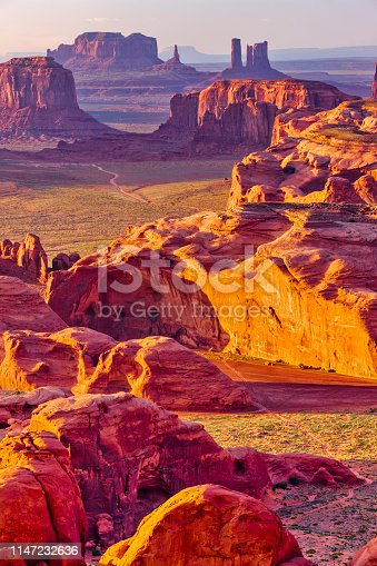 Sunset view from Hunt's mesa located in Monument Valley tribal park in Arizona