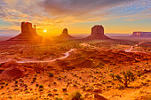 The mittens geologic feature in Monument Valley tribal park in Arizona at sunrise