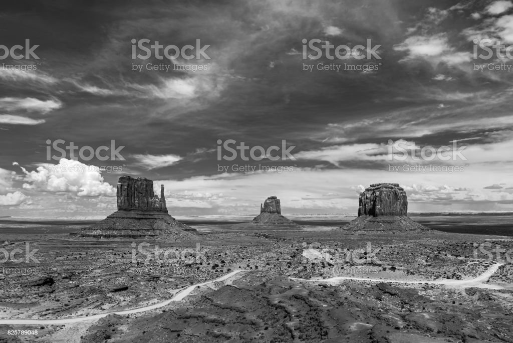 Monument Valley in Black and White stock photo