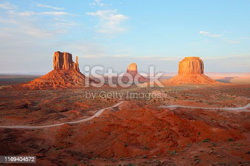 Landscape of Monument Valley, in the desert of the American Southwest in Arizona, USA.