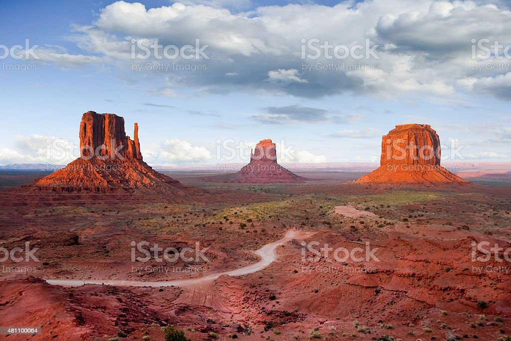 The Mittens and Merrick Butte at Sunset - Royalty-free Arid Climate Stock Photo