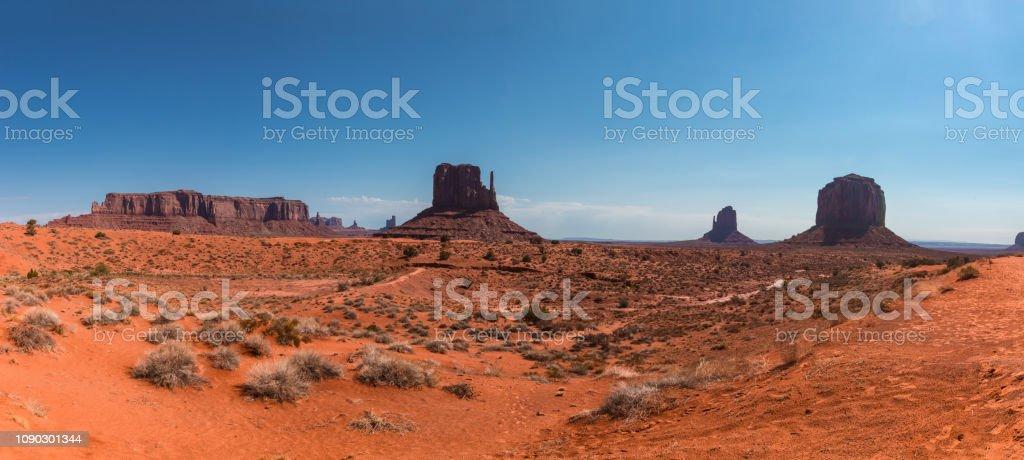 Monument Valley, a red-sand desert region on the Arizona-Utah border,...