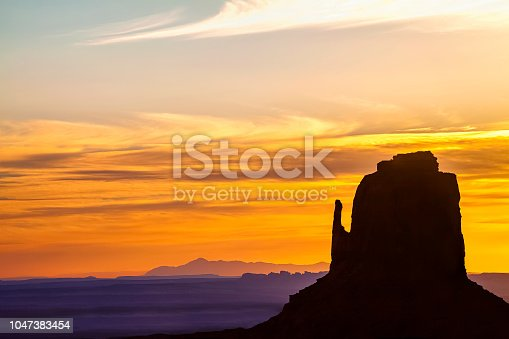 Early morning over one of the mittens at Monument Valley Navajo Tribal Park
