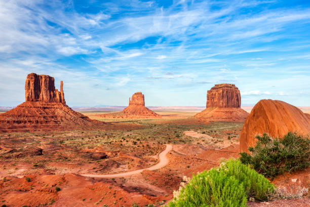 Monument Valley on the Border between Arizona and Utah, United States stock photo