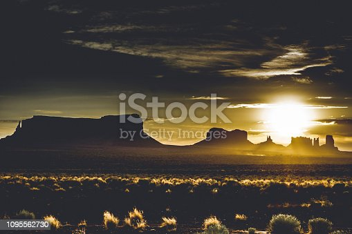 Sunrise over the Monument Valley, desert of Arizona (USA)