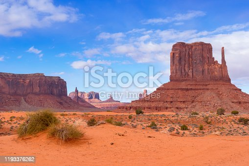 Buttes in Monument Valley, Arizona, under a nicely clouded sky