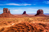 Panoramic view of the famous mountains known as West and East Mitten Buttes, at Monument Valley Tribal Park, Arizona.