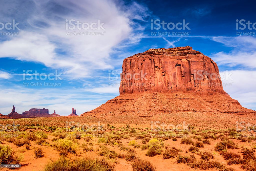 Panoramic view of mountains at Monument Valley Tribal Park, Arizona.