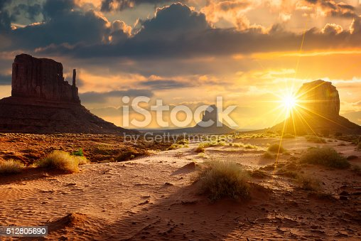 Sunset at the sisters in Monument Valley, USA