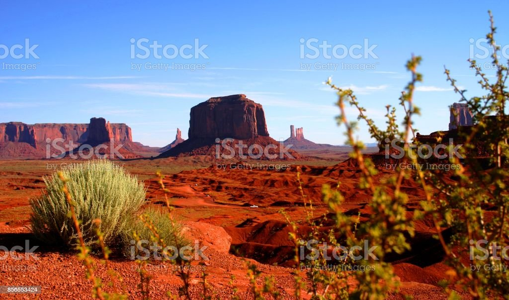Monument Valley on a bright sunny day in August