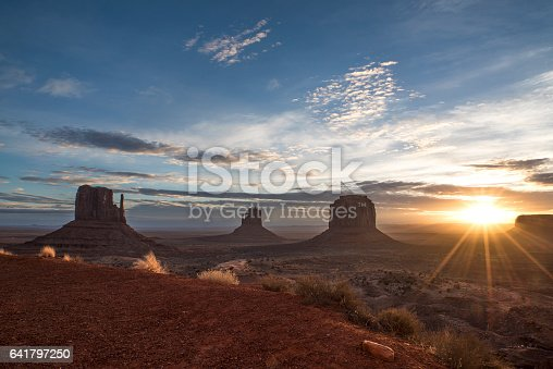 Sunrise on the famous Monument Valley in