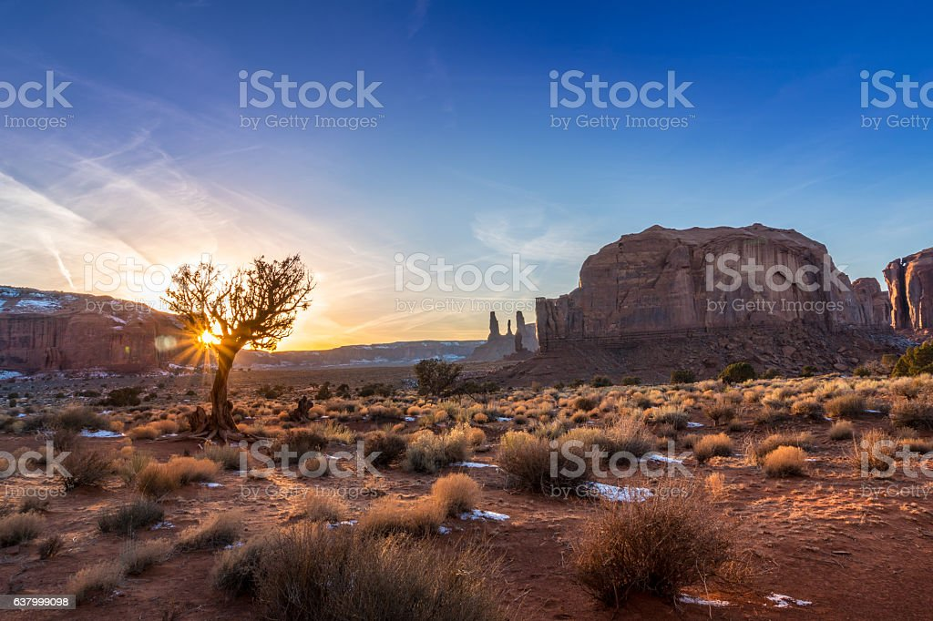 Monument Valley sunset stock photo
