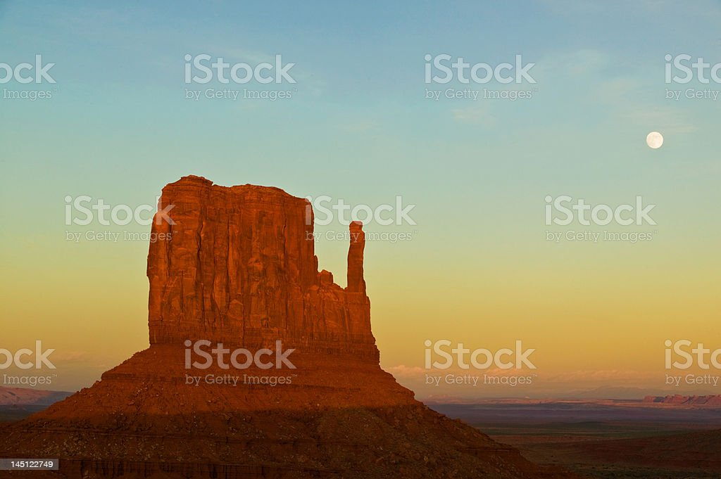 Monument Valley Sunset With Moon royalty-free stock photo