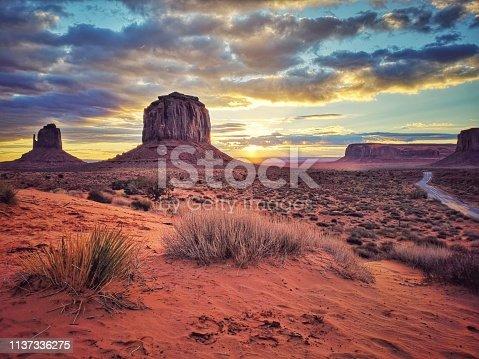 Monument Valley Navajo Tribal Park at sunrise. Arizona. USA