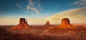 The landscape scenery at the Monument Valley Tribal Park in Arizona, USA. A famous tourist destination in the southwest USA. The iconic western landscape is a backdrop for many western movies.