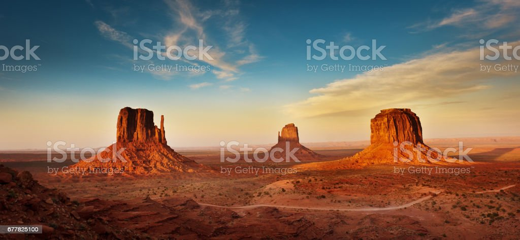 Monument Valley Tribal Park Landscape at Sunset stock photo