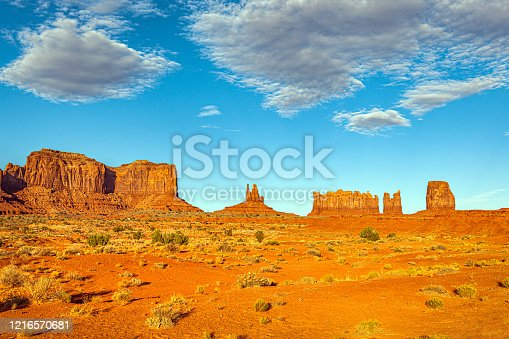 Monument Valley National Park rock formations are some of the most definitive images of the American West. The isolated red mesas and buttes surrounded by empty, sandy desert have been filmed and photographed countless times over the years for movies and commercials. .Nikon D3x