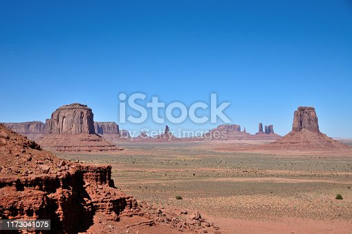 Clear day at Monument Valley at Navajo Reservation in Utah