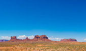 Panorama of the Monument Valley red mesa rock formation in the desert of Utah