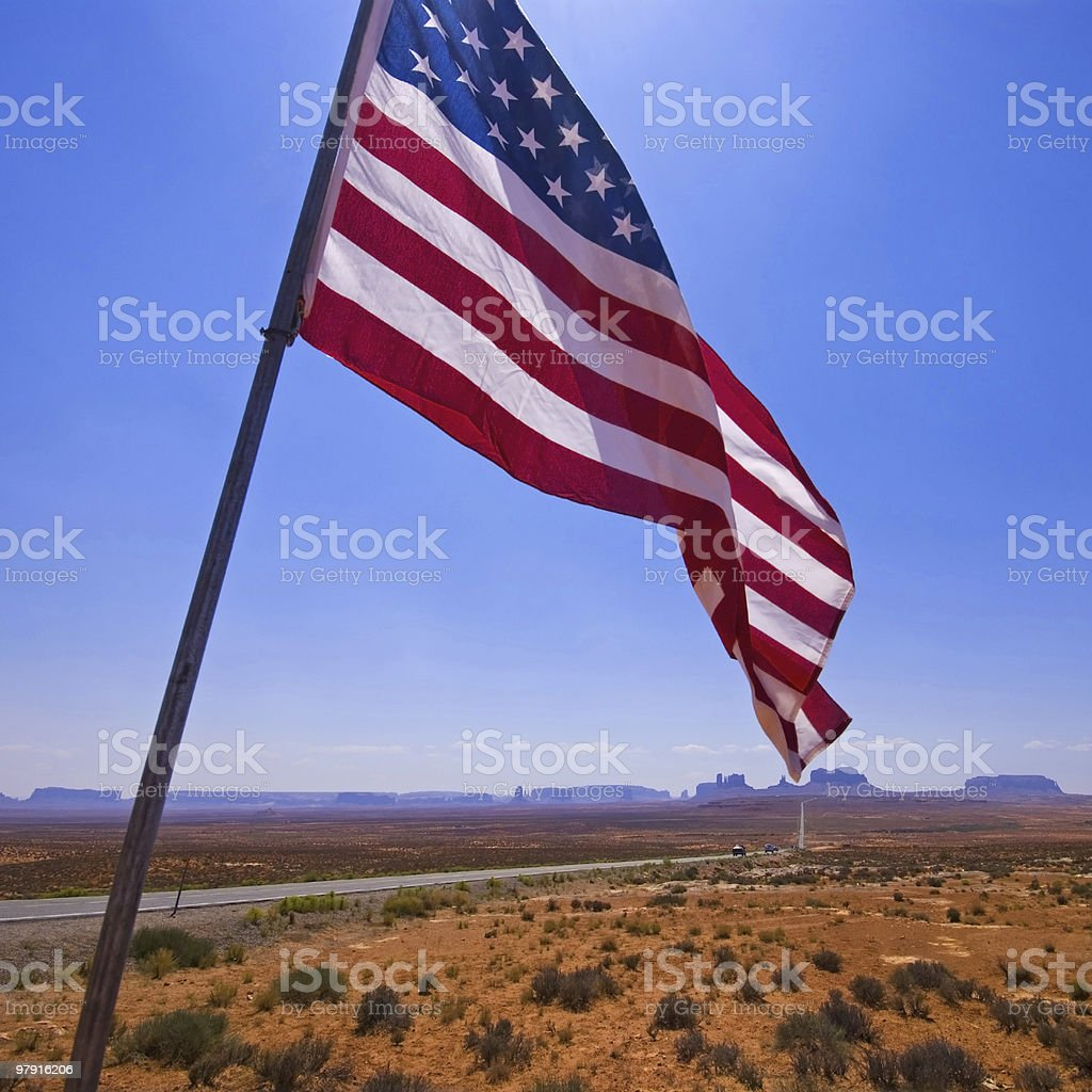 Monument Valley with american flag royalty-free stock photo