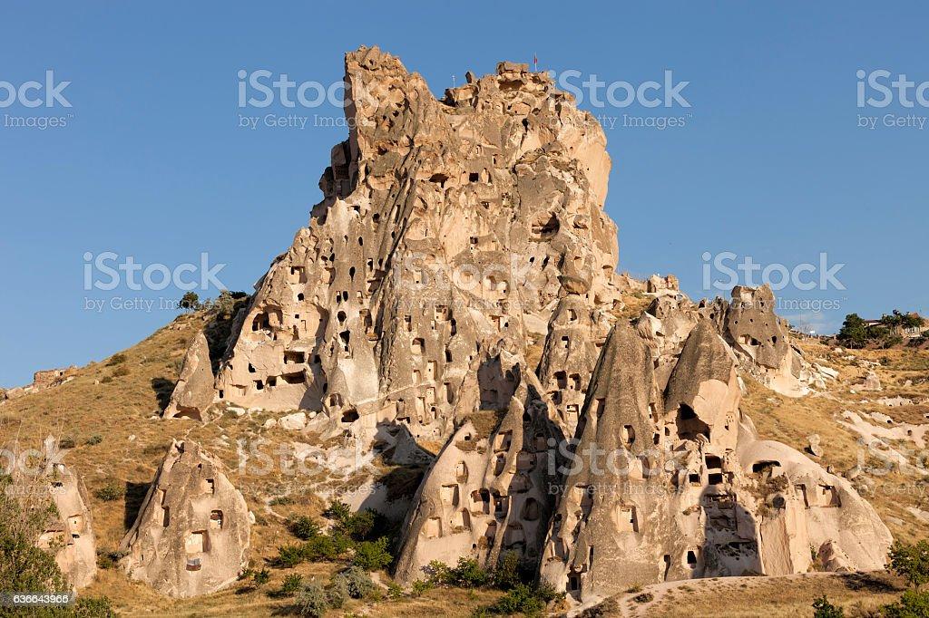Monumental ancient Ortahisar castle in Cappadocia stock photo
