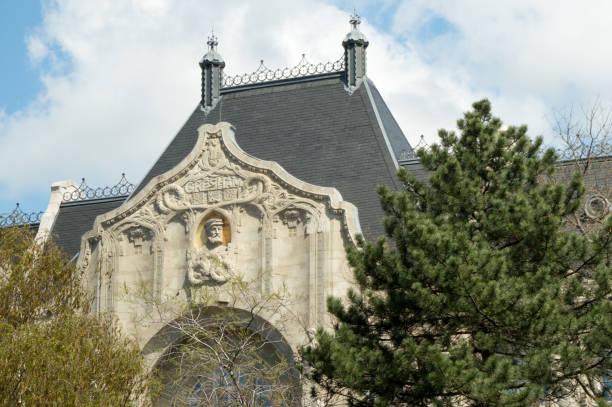 Monumental architecture in Budapest, Hungary: facade of Gresham Palace stock photo