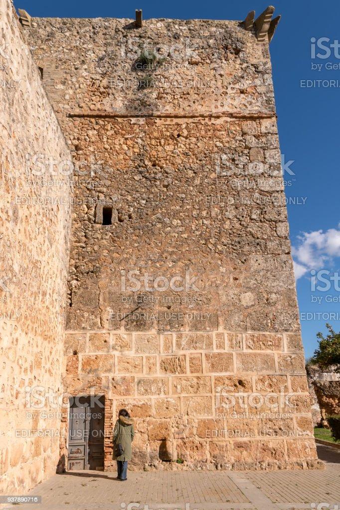 Monumental castle in the village of Niebla, Huelva, Spain. stock photo