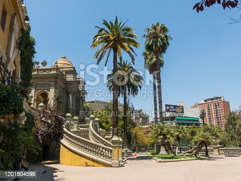 SANTIAGO DE CHILE, CHILE - JANUARY 26, 2018: Monumental gardens in the Cerro de Santa Lucía, in the downtown of Santiago de Chile, next to the Alameda, the main avenue of the city. Chile.