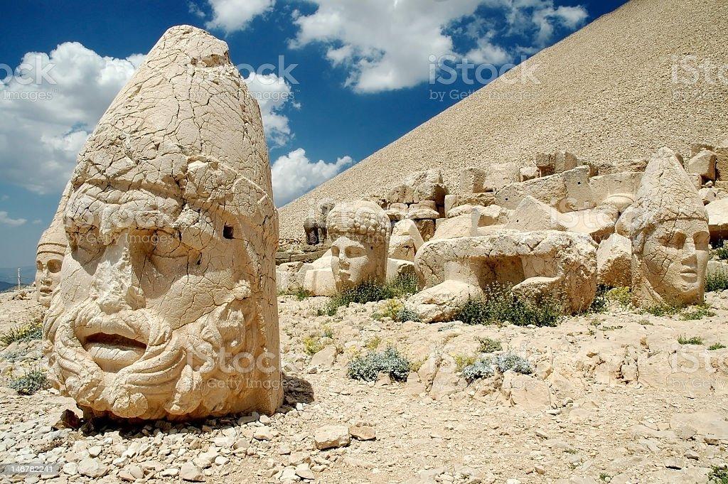 Monumental god head statues at Mt. Nemrut, Turkey stock photo