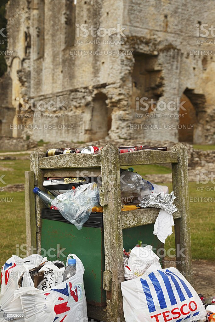 Monumental rubbish - visitor picnic trash dumped at historic site stock photo