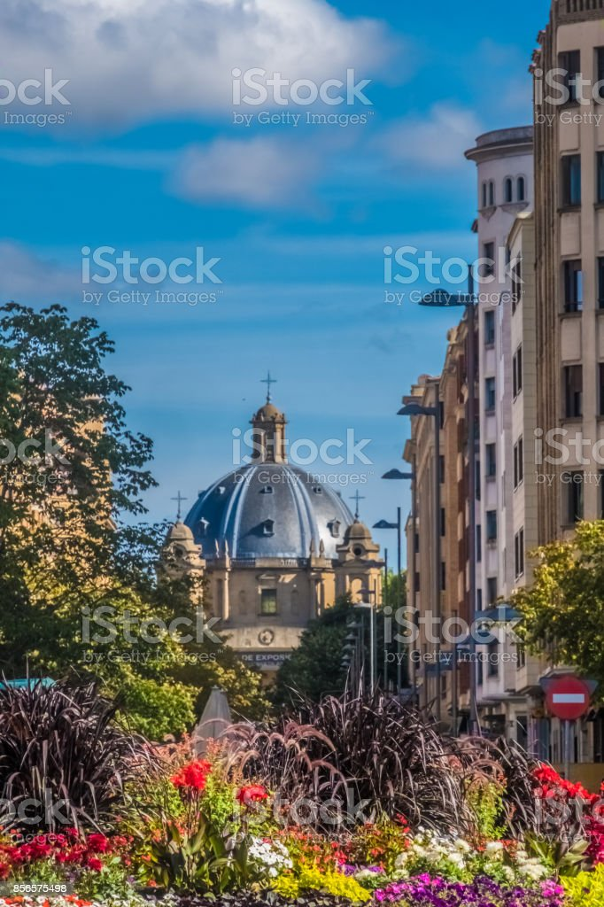 Monumento a los Caídos, a Franco era memorial, Pamplona (Iruña), the historical capitalof Navarre, Spain, Famous for the running of the bulls during the San Fermin festival brought to literary renown by Ernest Hemingway's novel The Sun Also Rises. stock photo