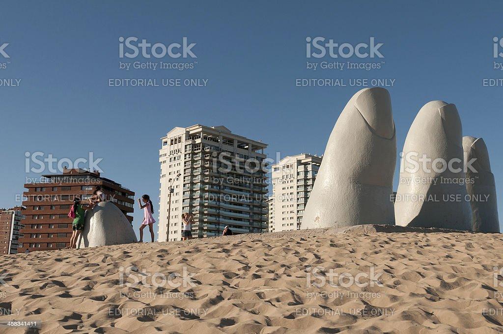 Monumento al Ahogado, Punta del Este (Uruguay) stock photo