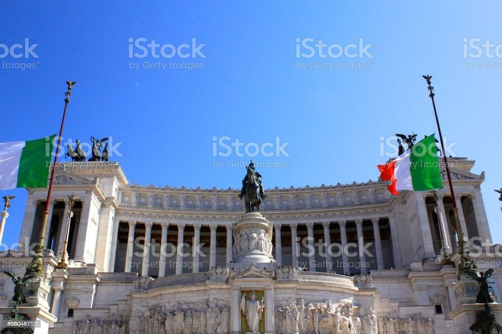 Monumento Nazionale a Vittorio Emanuele II in Rome Italy stock photo