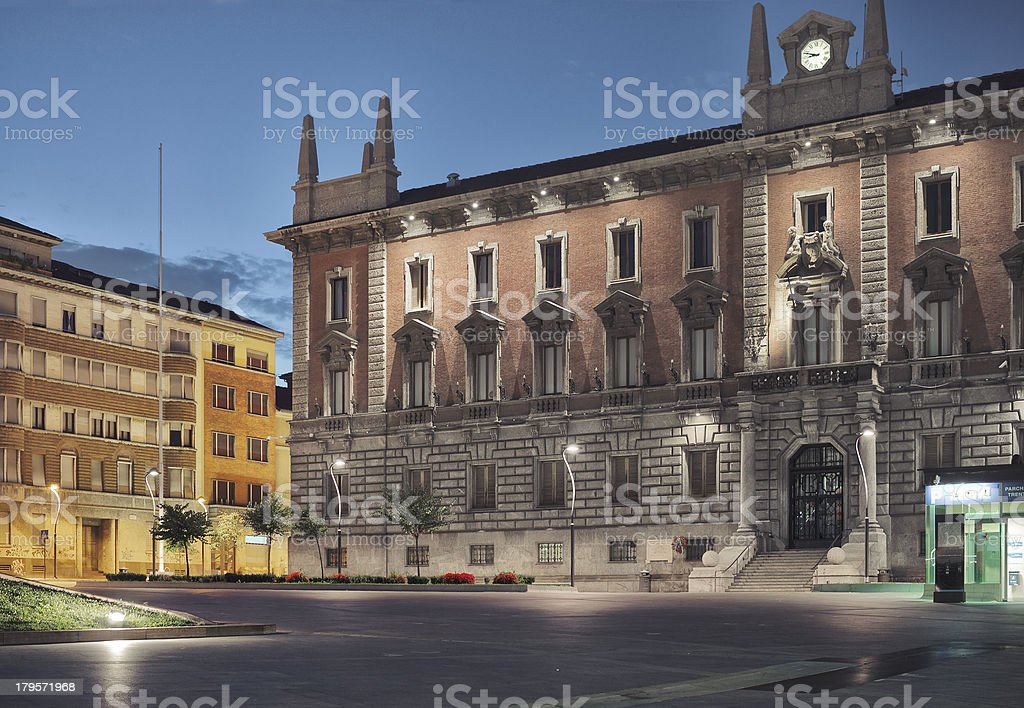 Monza, City Hall by night - Piazza Trento e Trieste stock photo