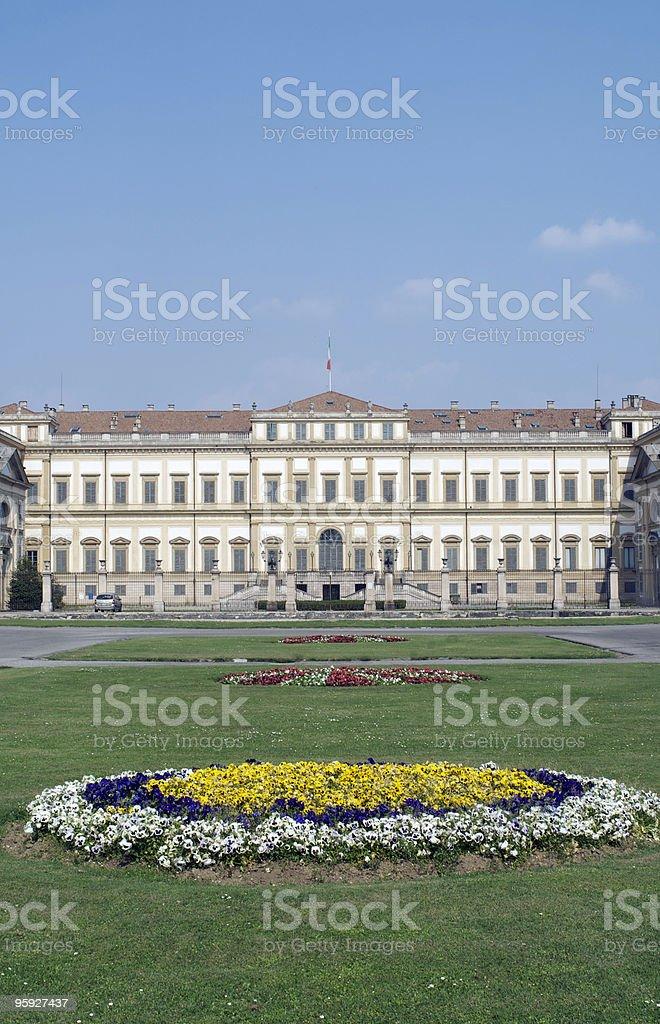 Monza, Villa Reale (Royal Palace), exterior with gardens stock photo