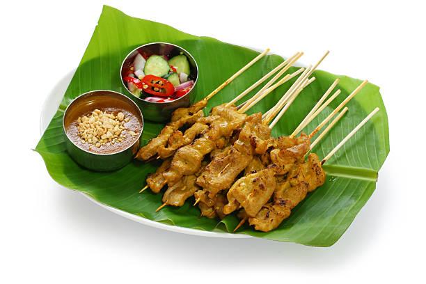 moo satay, pork satay, thai cuisine - 泰國菜 個照片及圖片檔