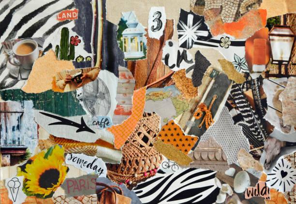 colagem de bordo humor na natureza verão estilo feito de rasgado resultados de papel na arte de reciclagem de resíduos - mood board - fotografias e filmes do acervo