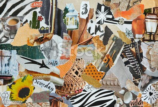 Mood board collage in nature summer style made of teared waste recycling paper results in art. Yellow, white, black, beige and orange colors