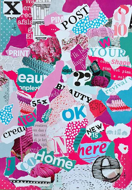 mood board feita de revistas em cor-de-rosa, azul e verde - mood board - fotografias e filmes do acervo