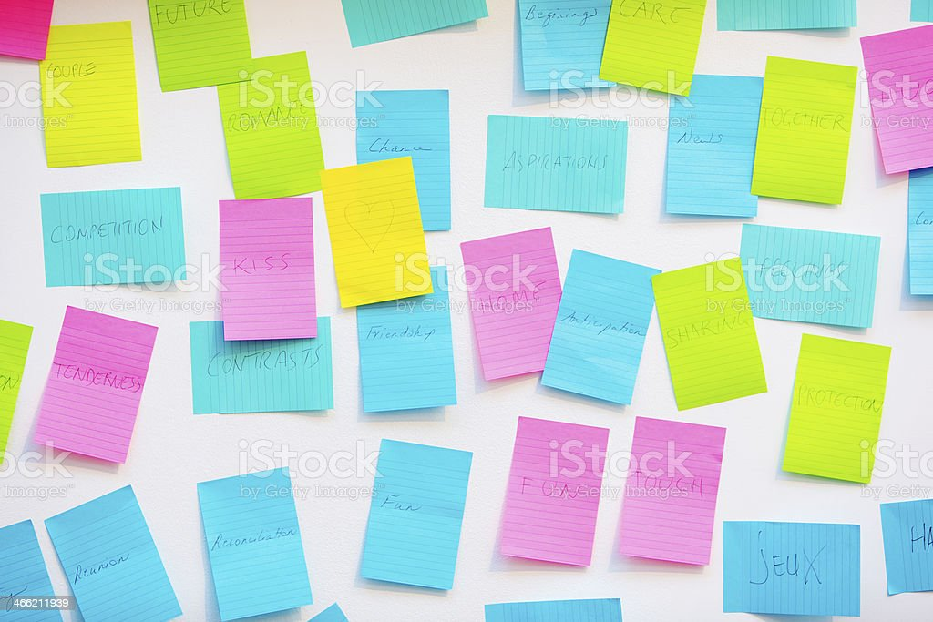 Moodboard notes stock photo