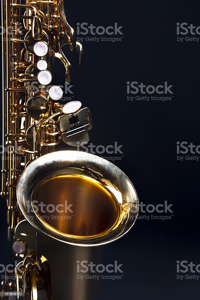 Moody blues: saxophone with dark blue copy space stock photo