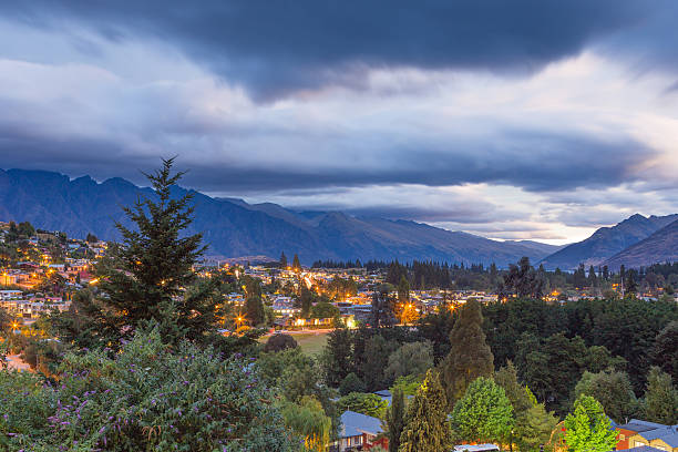 Moody evening sky over Queenstown, New Zealand stock photo