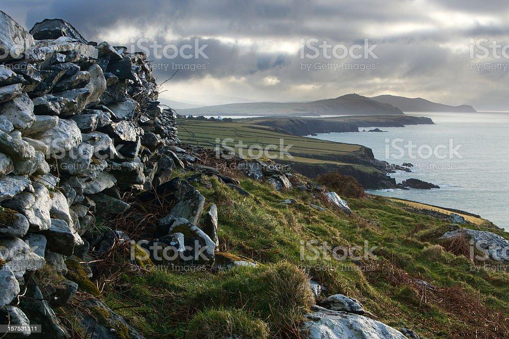 Moody Irish landscape on Dingle Peninsula. stock photo