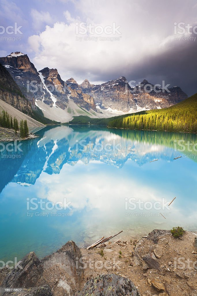 Moody Moraine Lake stock photo
